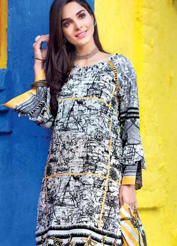 Gul Ahmed Printed Lawn Unstitched 3 Piece Suit GA18L CL-304A - Essential Collection