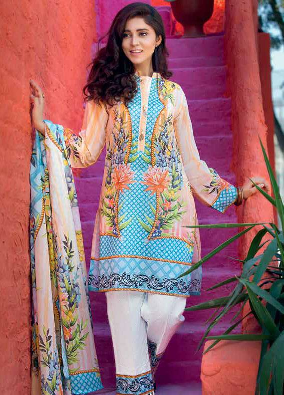 Gul Ahmed Printed Lawn Unstitched 3 Piece Suit GA18L CL-325B - Essential Collection