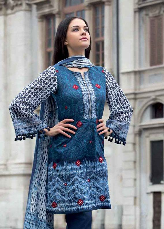 Gul Ahmed Embroidered Lawn Unstitched 3 Piece Suit GA18L CL-328 - Essential Collection