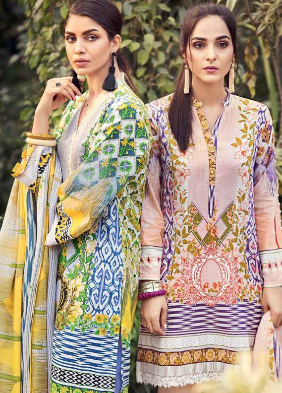 Gul Ahmed Printed Lawn Unstitched 3 Piece Suit GA18L CL-336B - Essential Collection