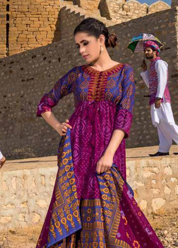 Gul Ahmed Printed Lawn Unstitched 3 Piece Suit GA18L CL-344B - Essential Collection