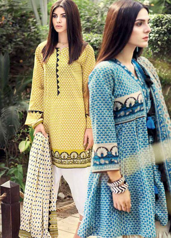 Gul Ahmed Printed Lawn Unstitched 3 Piece Suit GA18L CL-345A - Essential Collection