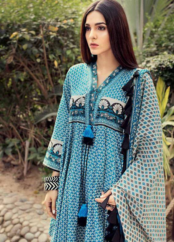 Gul Ahmed Printed Lawn Unstitched 3 Piece Suit GA18L CL-345B - Essential Collection