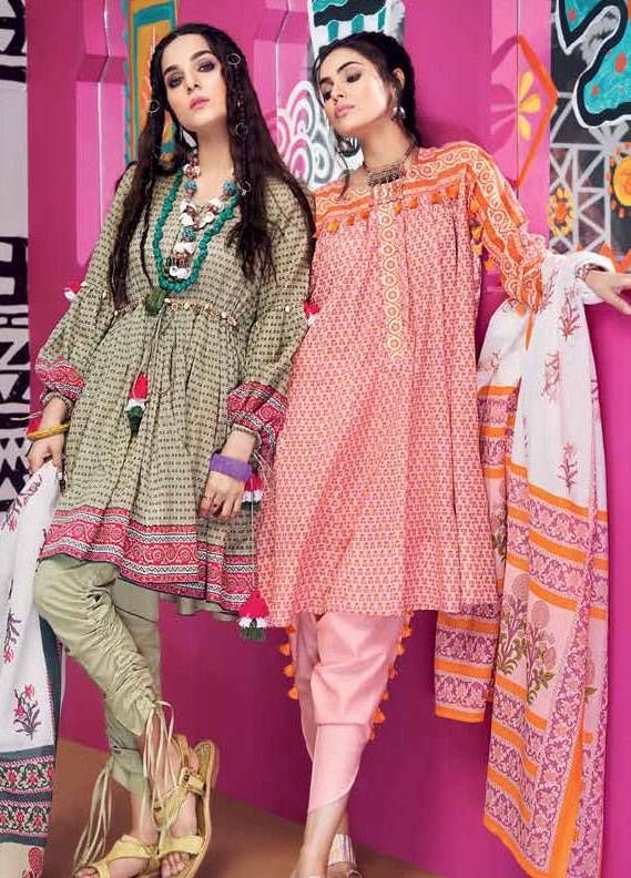 Gul Ahmed Printed Lawn Unstitched 3 Piece Suit GA18L CL-353A - Essential Collection