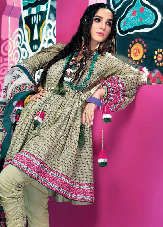 Gul Ahmed Printed Lawn Unstitched 3 Piece Suit GA18L CL-353B - Essential Collection