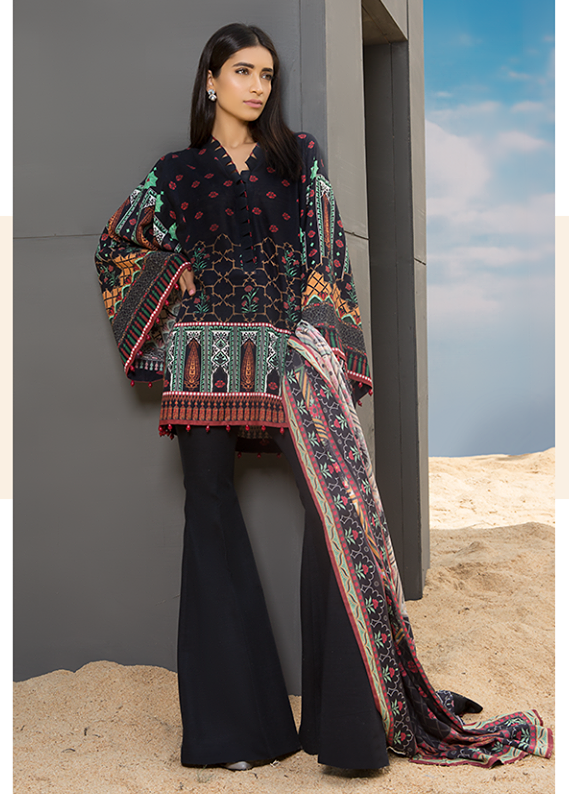 Sapphire Embroidered Khaddar Unstitched 3 Piece Suit SP17W Classic Mosaic A
