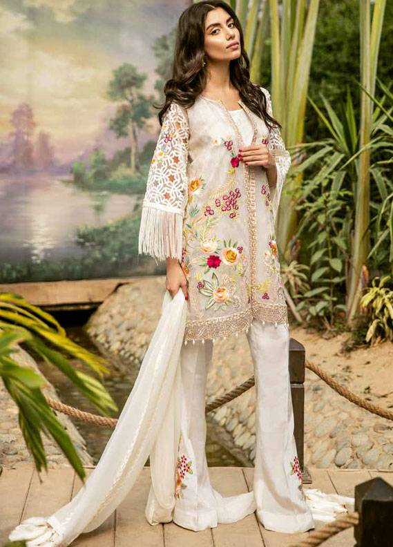 Coir Embroidered Chiffon Unstitched 3 Piece Suit CO18C 02 - Luxury Collection