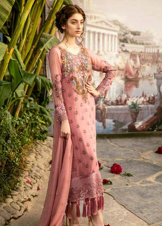 Coir Embroidered Chiffon Unstitched 3 Piece Suit CO18C 03 - Luxury Collection