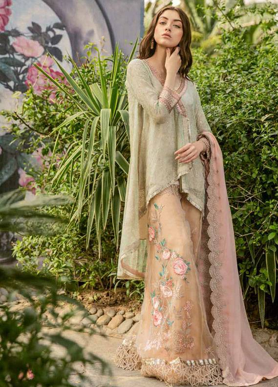 Coir Embroidered Chiffon Unstitched 3 Piece Suit CO18C 05 - Luxury Collection