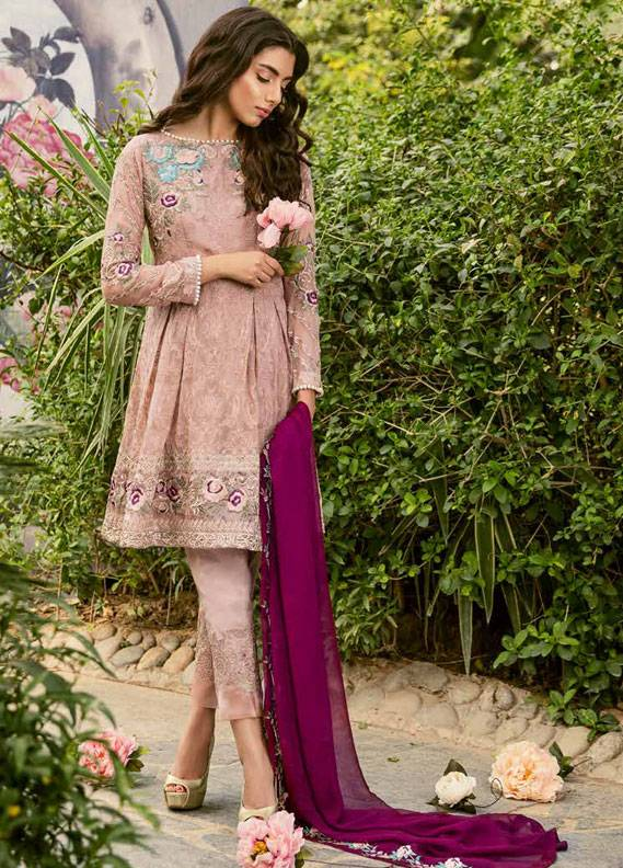 Coir Embroidered Chiffon Unstitched 3 Piece Suit CO18C 06 - Luxury Collection