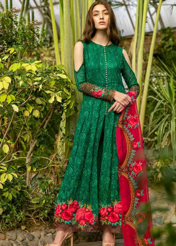 Coir Embroidered Chiffon Unstitched 3 Piece Suit CO18C 07 - Luxury Collection