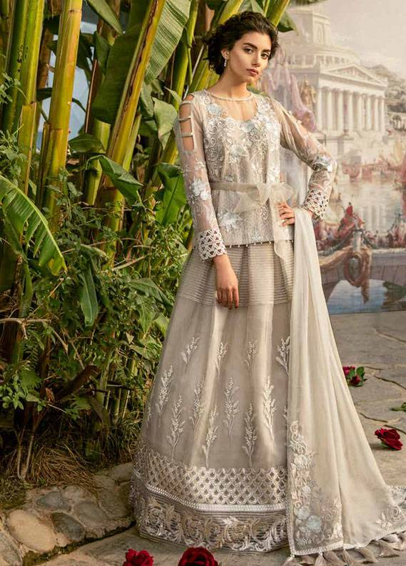Coir Embroidered Chiffon Unstitched 3 Piece Suit CO18C 10 - Luxury Collection