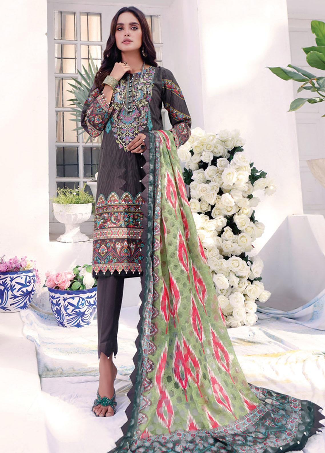Coco by Al Zohaib Embroidered Cambric Suits Unstitched 3 Piece AZ21CC D-07-B - Winter Collection