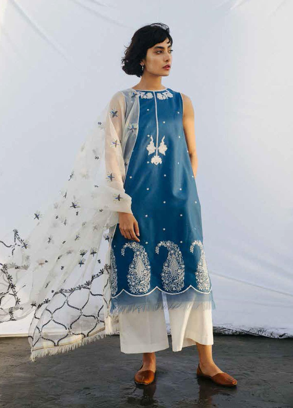 Coco By Zara Shahjahan Embroidered Schiffli Suits Unstitched 3 Piece CZS20L 1-B - Spring/Summer Collection