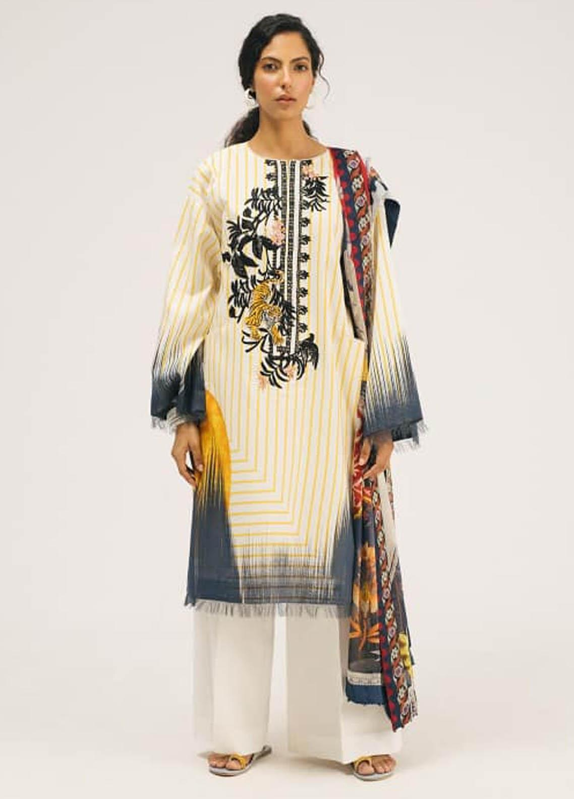 Coco by Zara Shahjahan Embroidered Lawn Unstitched 3 Piece Suit COC20SS 7B - Spring / Summer Collection