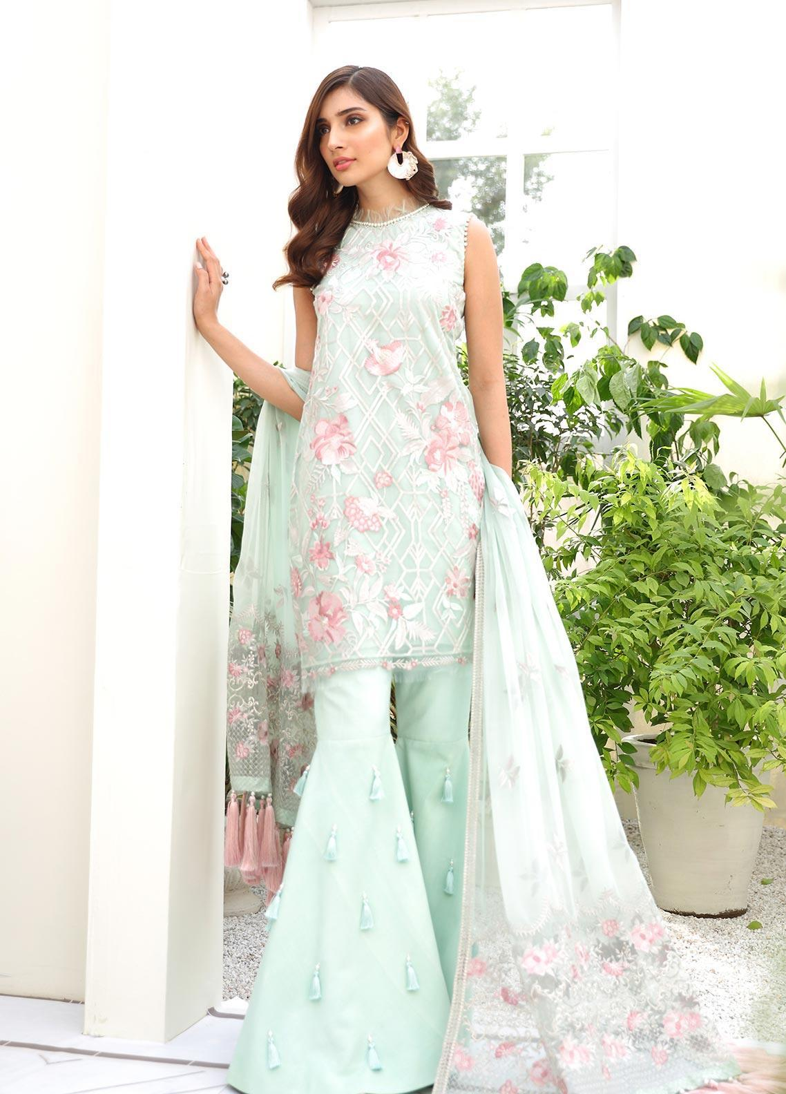 COIR Embroidered Chiffon Unstitched 3 Piece Suit CO19-C5 02 VIVID VERDANT - Luxury Collection