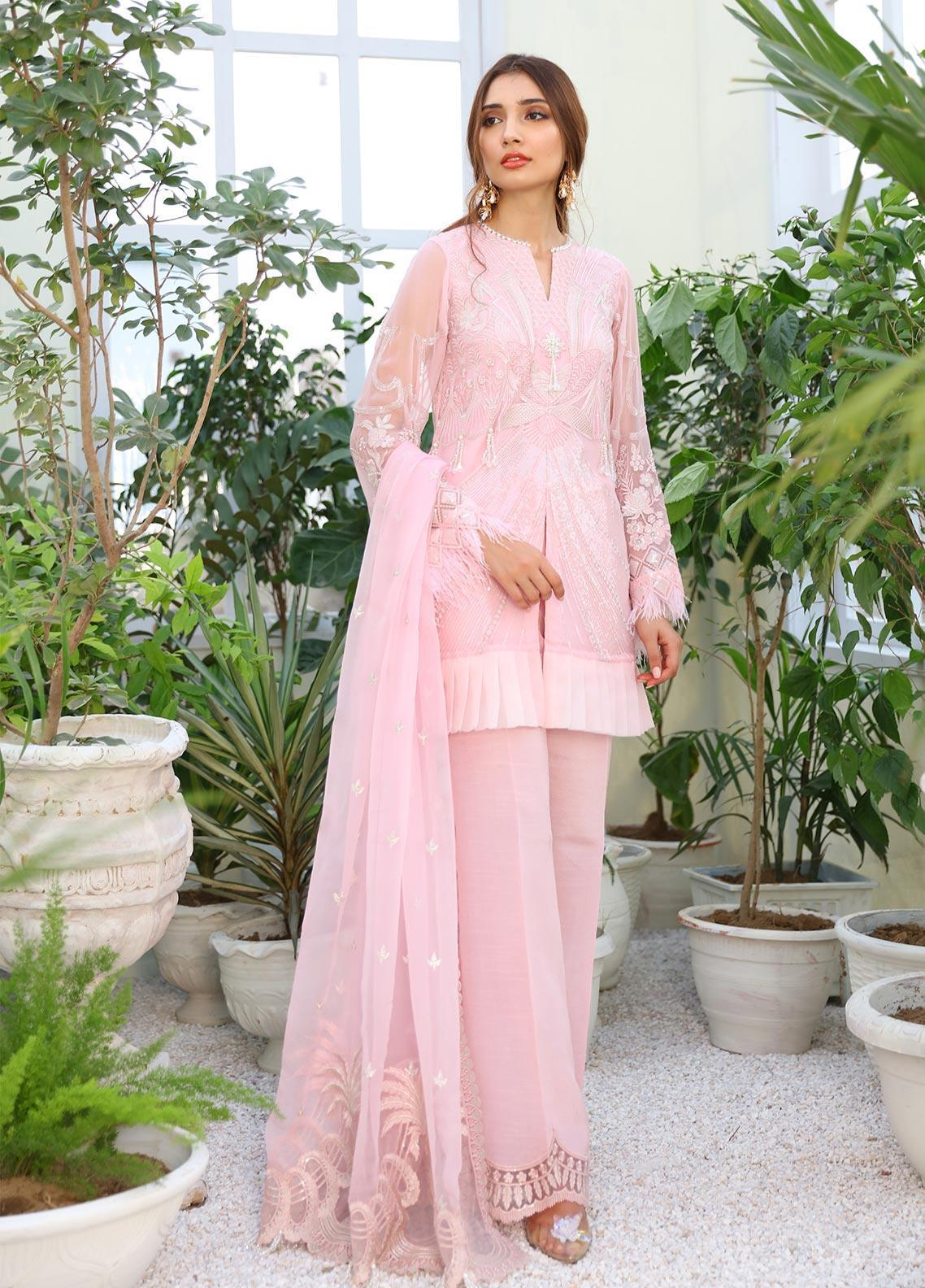 COIR Embroidered Chiffon Unstitched 3 Piece Suit CO19-C5 04 CLAMARE BLUSH - Luxury Collection