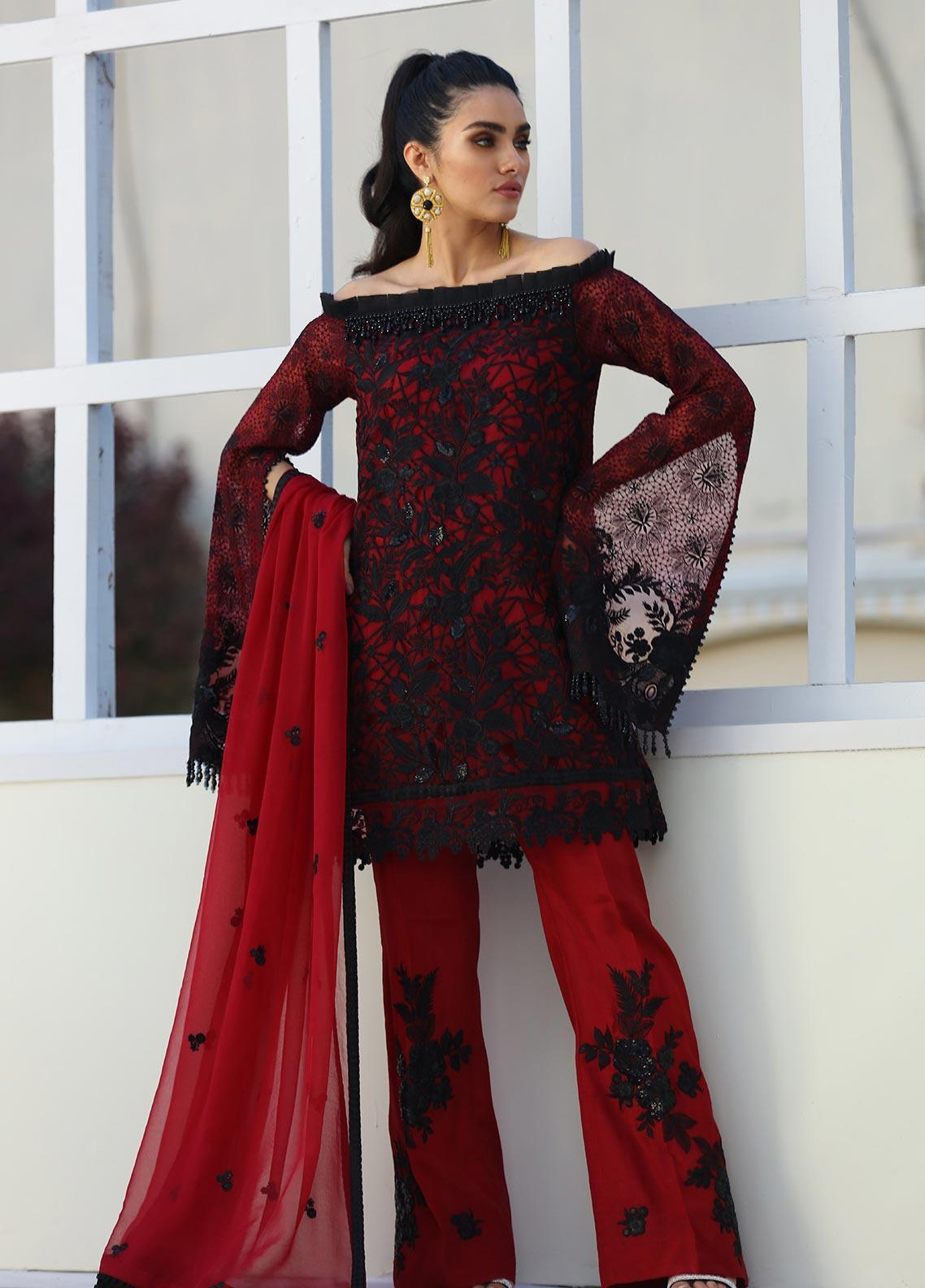 COIR Embroidered Chiffon Unstitched 3 Piece Suit CO19-C5 05 SCARLETT DANDELION - Luxury Collection