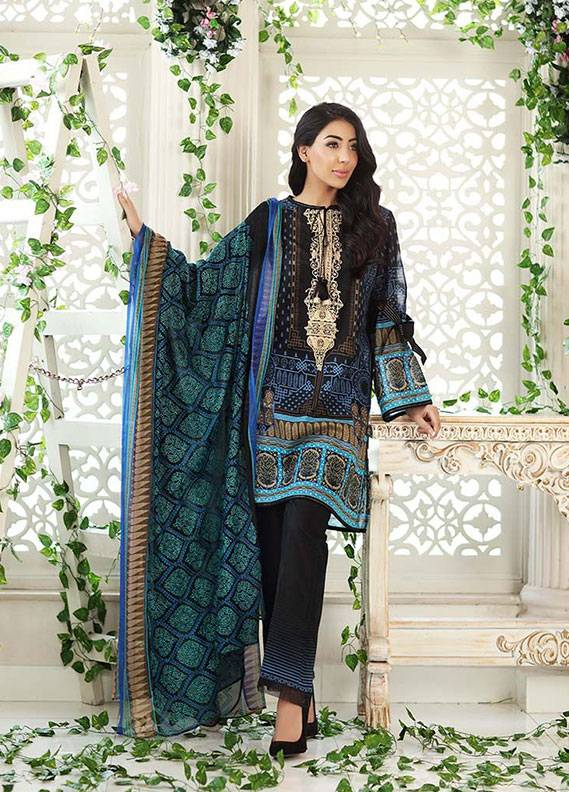 Gul Ahmed Embroidered Lawn Unstitched 3 Piece Suit GA18L CPM-02 - Premium Collection