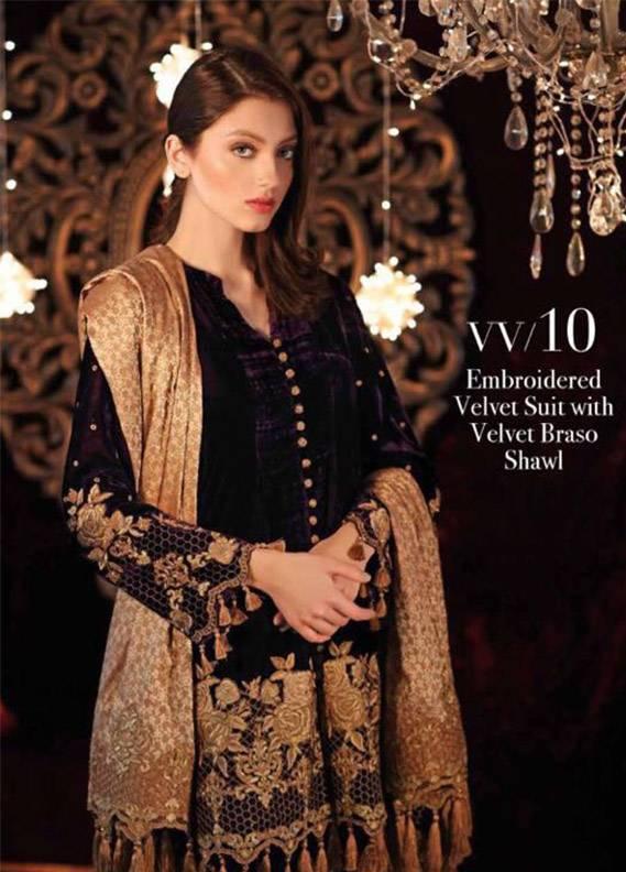 Charizma Embroidered Velvet Unstitched 3 Piece Suit CR17V 10