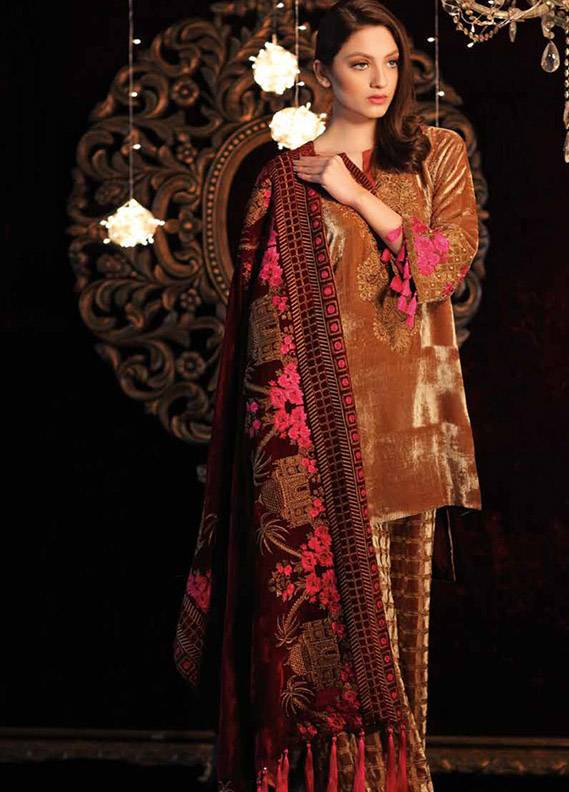 Charizma Embroidered Velvet Unstitched 3 Piece Suit CR17V 11