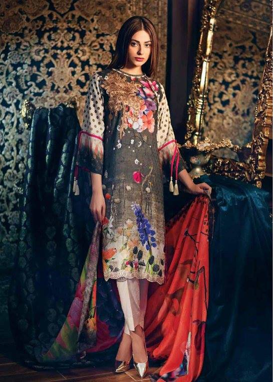 Charizma Embroidered Linen Unstitched 3 Piece Suit CR17W1 25