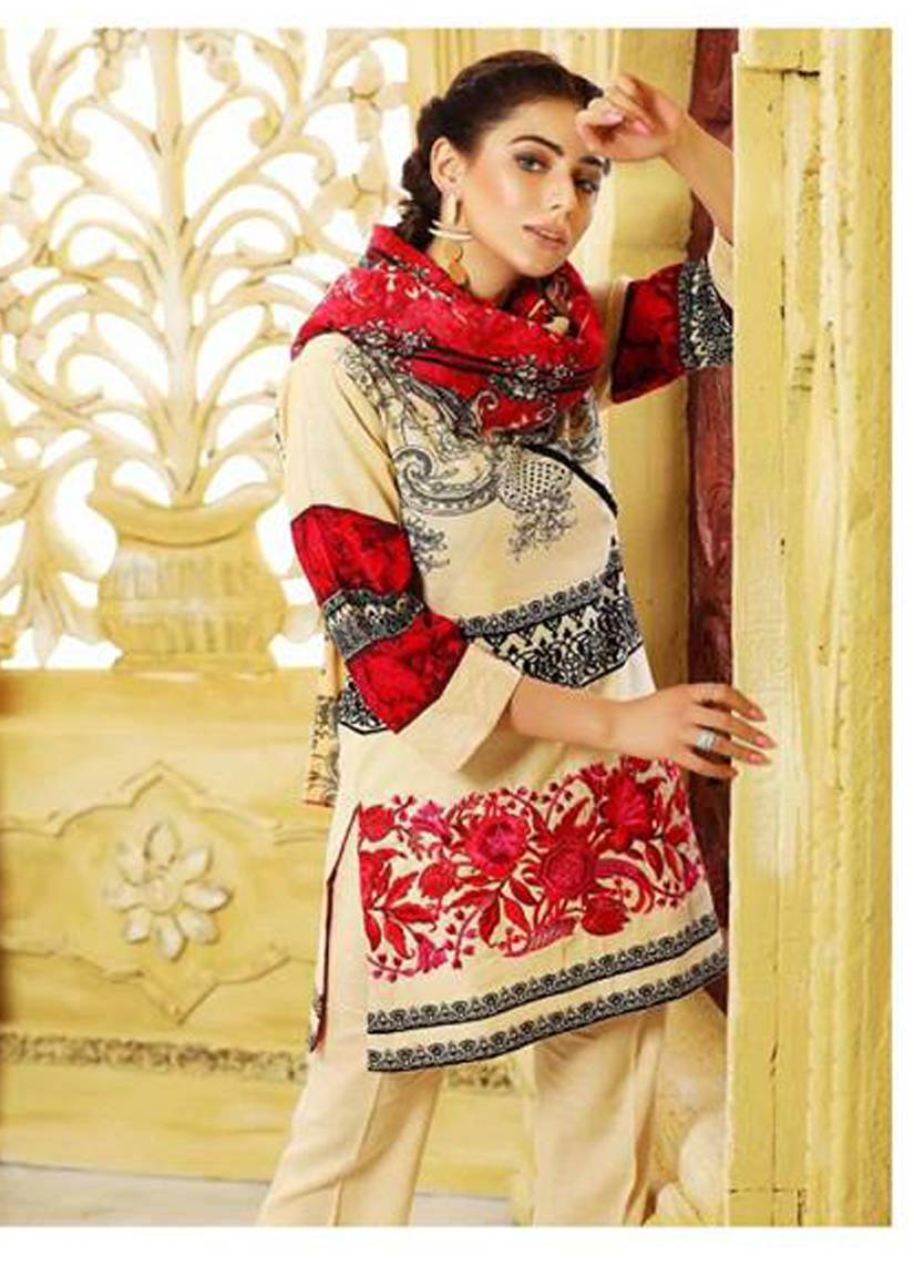 Charizma Embroidered Linen Unstitched 3 Piece Suit CR17W2 3B