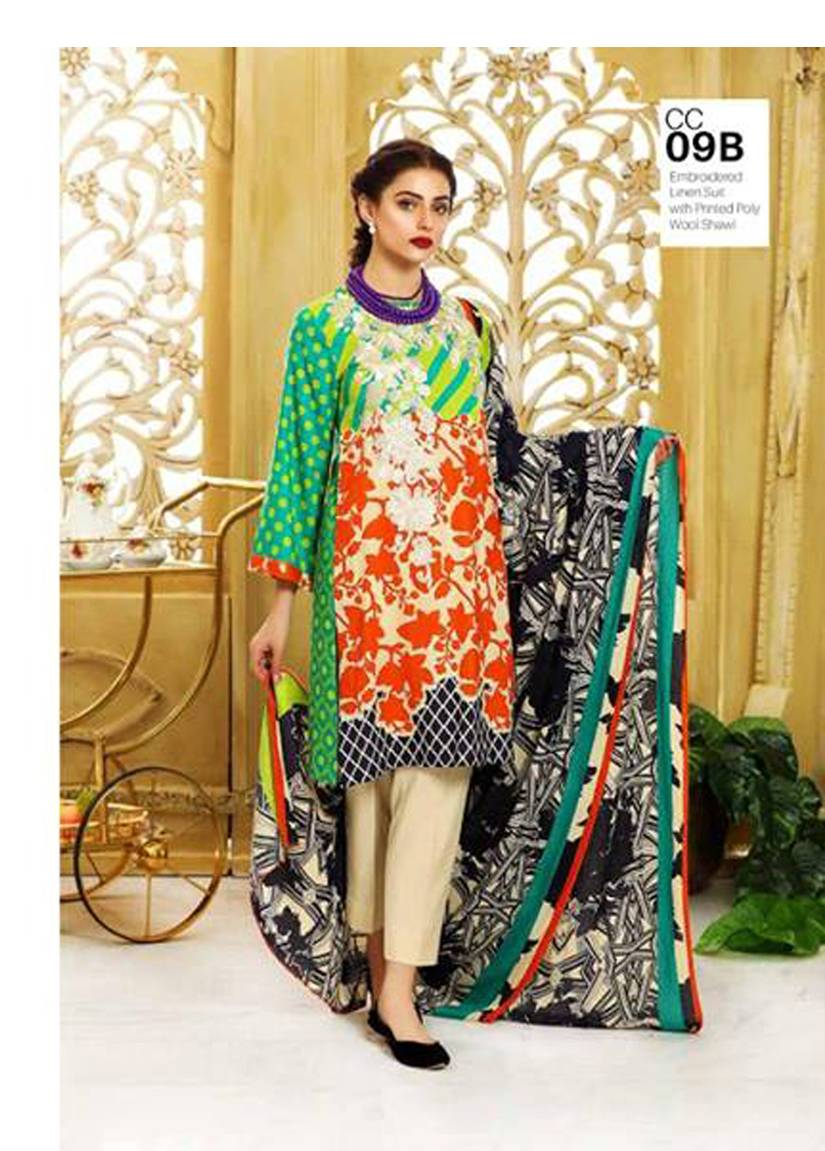 Charizma Embroidered Linen Unstitched 3 Piece Suit CR17W2 9B