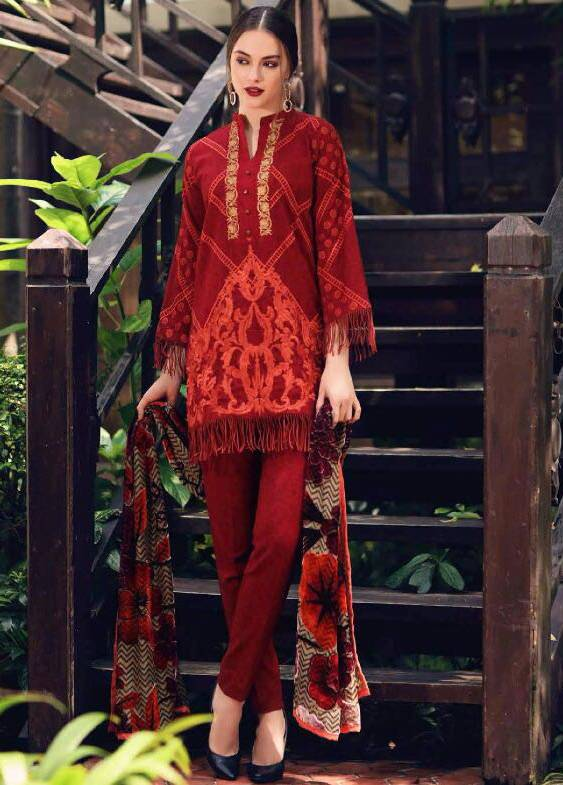 Charizma Embroidered Linen Unstitched 3 Piece Suit CR17W3 08