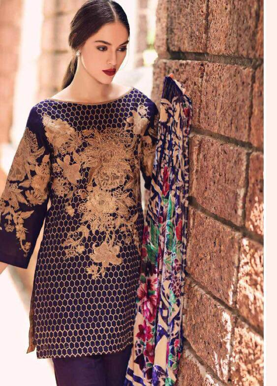 Charizma Embroidered Linen Unstitched 3 Piece Suit CR17W3 09