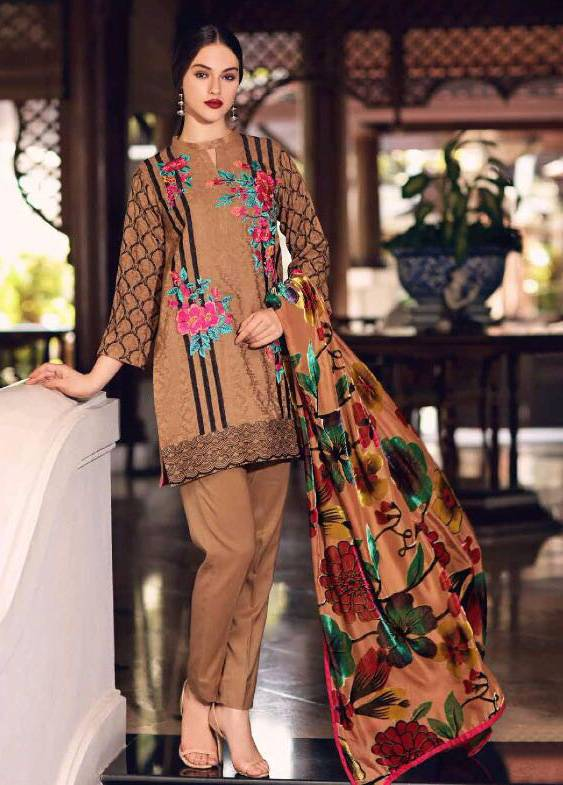 Charizma Embroidered Linen Unstitched 3 Piece Suit CR17W3 10