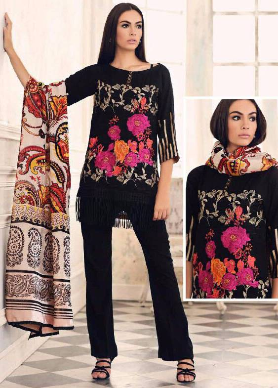 Charizma Embroidered Linen Unstitched 3 Piece Suit CR17W3 11