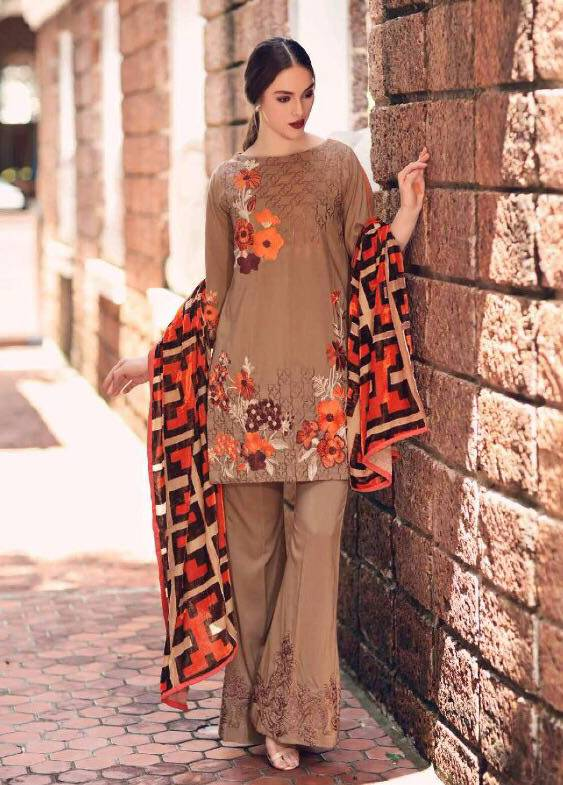 Charizma Embroidered Linen Unstitched 3 Piece Suit CR17W3 12