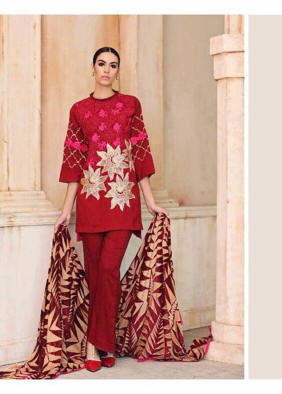 Charizma Embroidered Linen Unstitched 3 Piece Suit CR17W3 5A