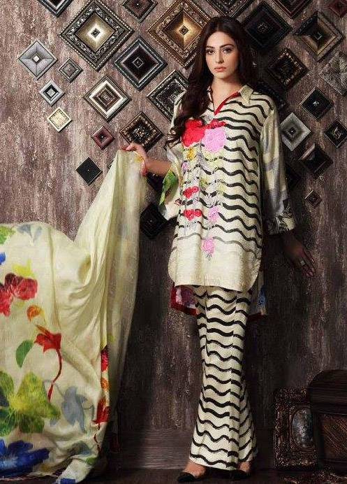 Charizma Embroidered Linen Unstitched 3 Piece Suit CR17W 13