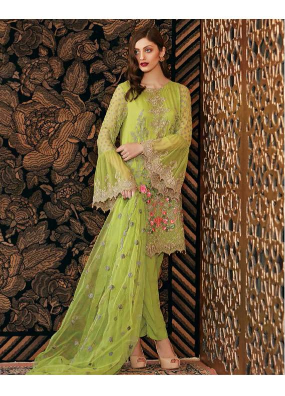 Charizma Embroidered Chiffon Unstitched 3 Piece Suit CR18C 01 - Chiffon Collection