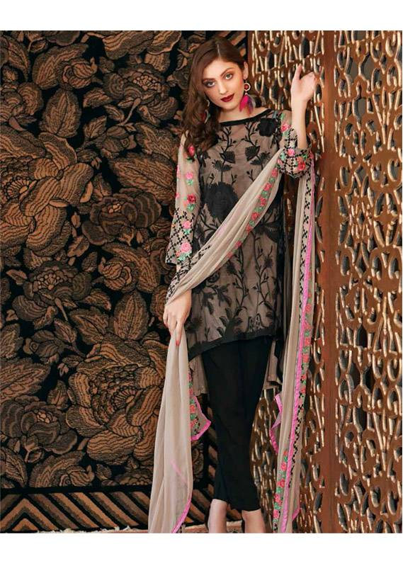 Charizma Embroidered Chiffon Unstitched 3 Piece Suit CR18C 05 - Chiffon Collection