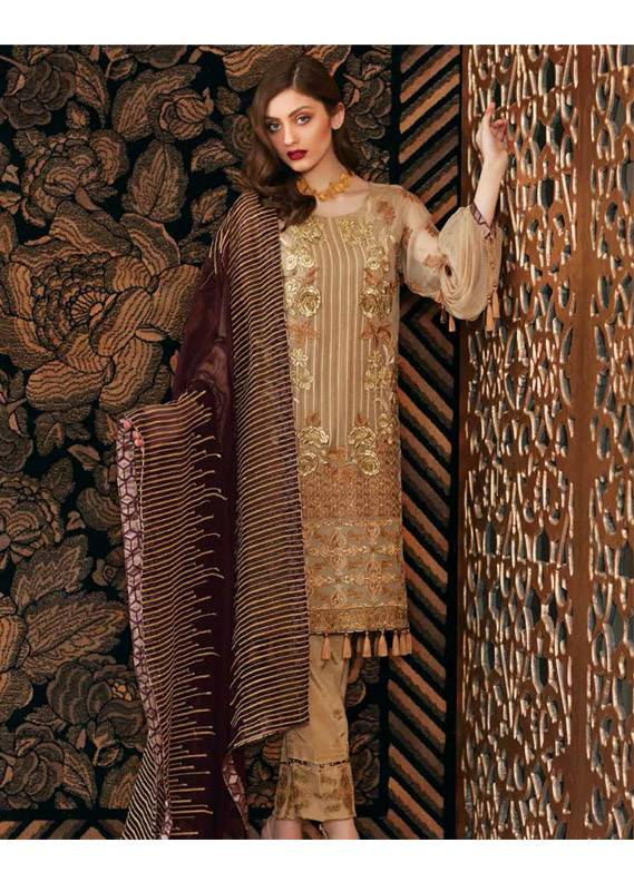 Charizma Embroidered Chiffon Unstitched 3 Piece Suit CR18C 07 - Chiffon Collection