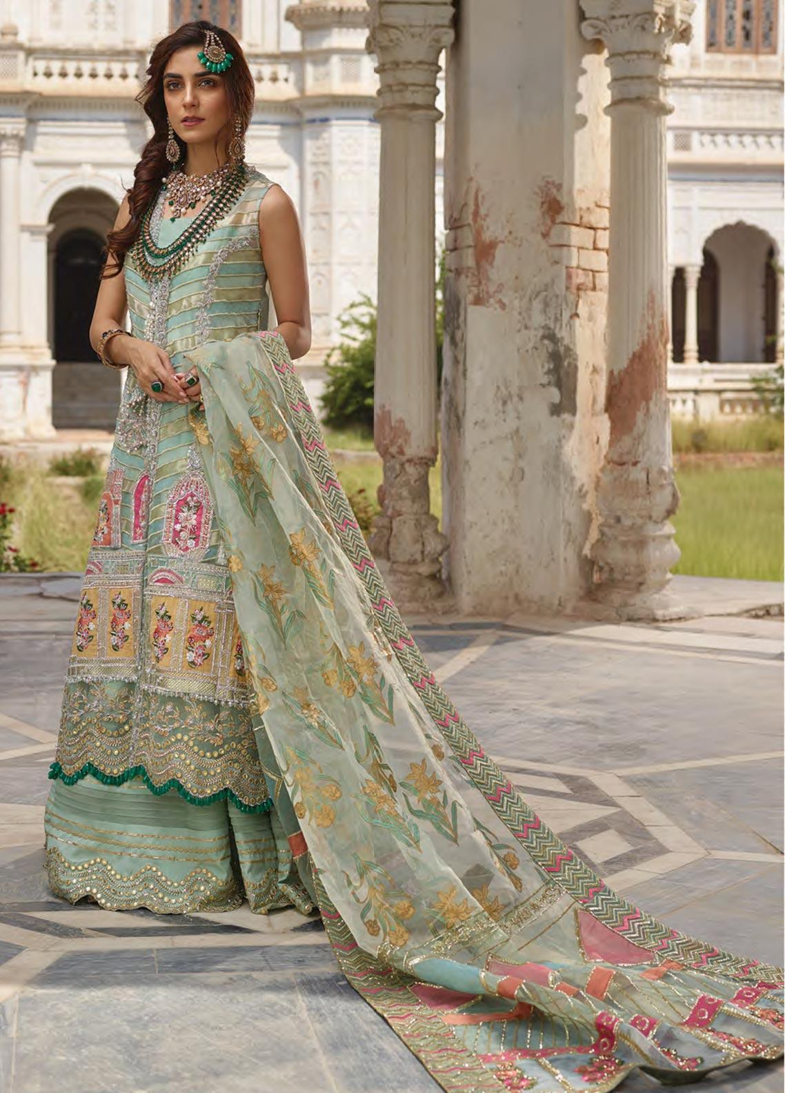 Crimson Embroidered Net Unstitched 3 Piece Suit CR19N 1A Mint  - Wedding Collection