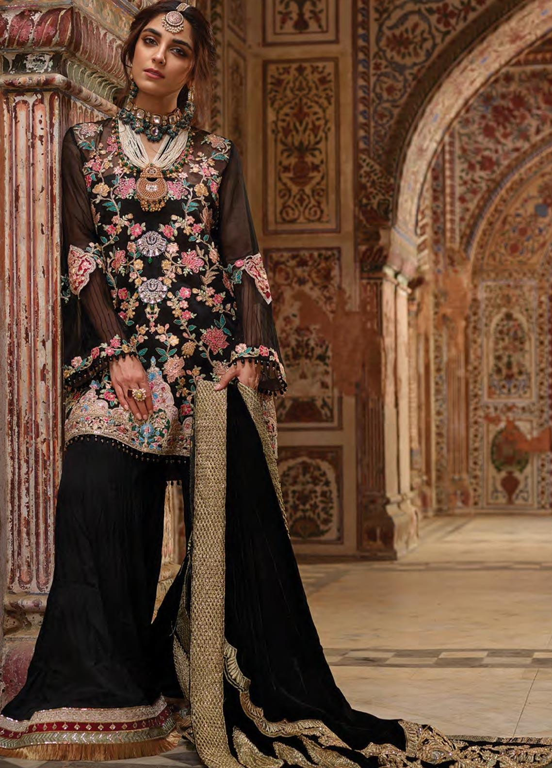 Crimson Embroidered Organza Unstitched 3 Piece Suit CR19N 3A Sable - Wedding Collection