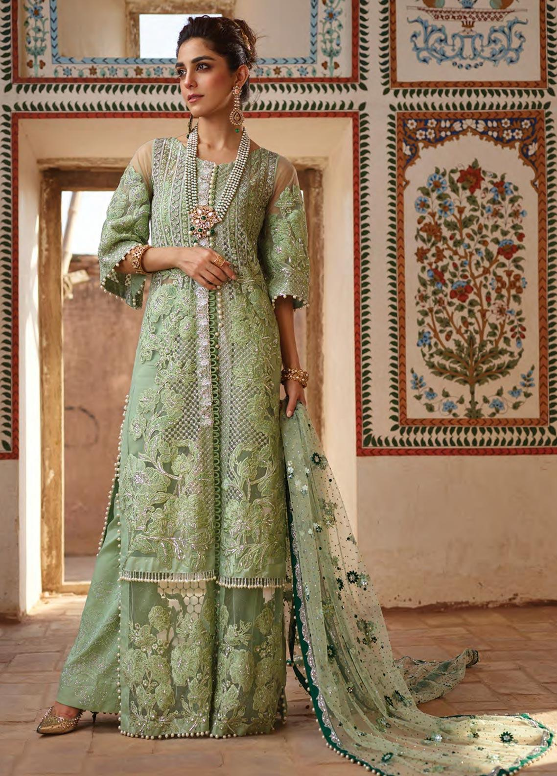 Crimson Embroidered Net Unstitched 3 Piece Suit CR19N 4A Sea Green - Wedding Collection