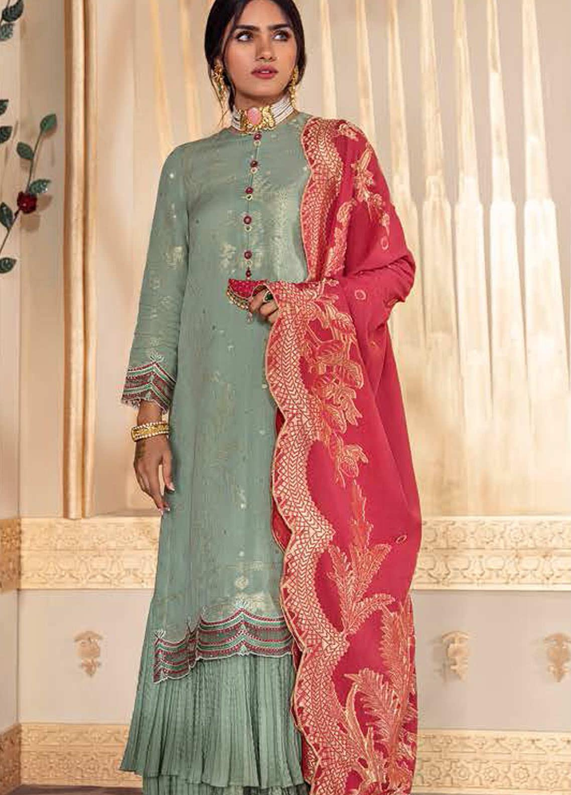 Cross Stitch Embroidered Lawn Suits Unstitched 3 Piece CS21SU 11-MANZAR E KHAS - Luxury Collection