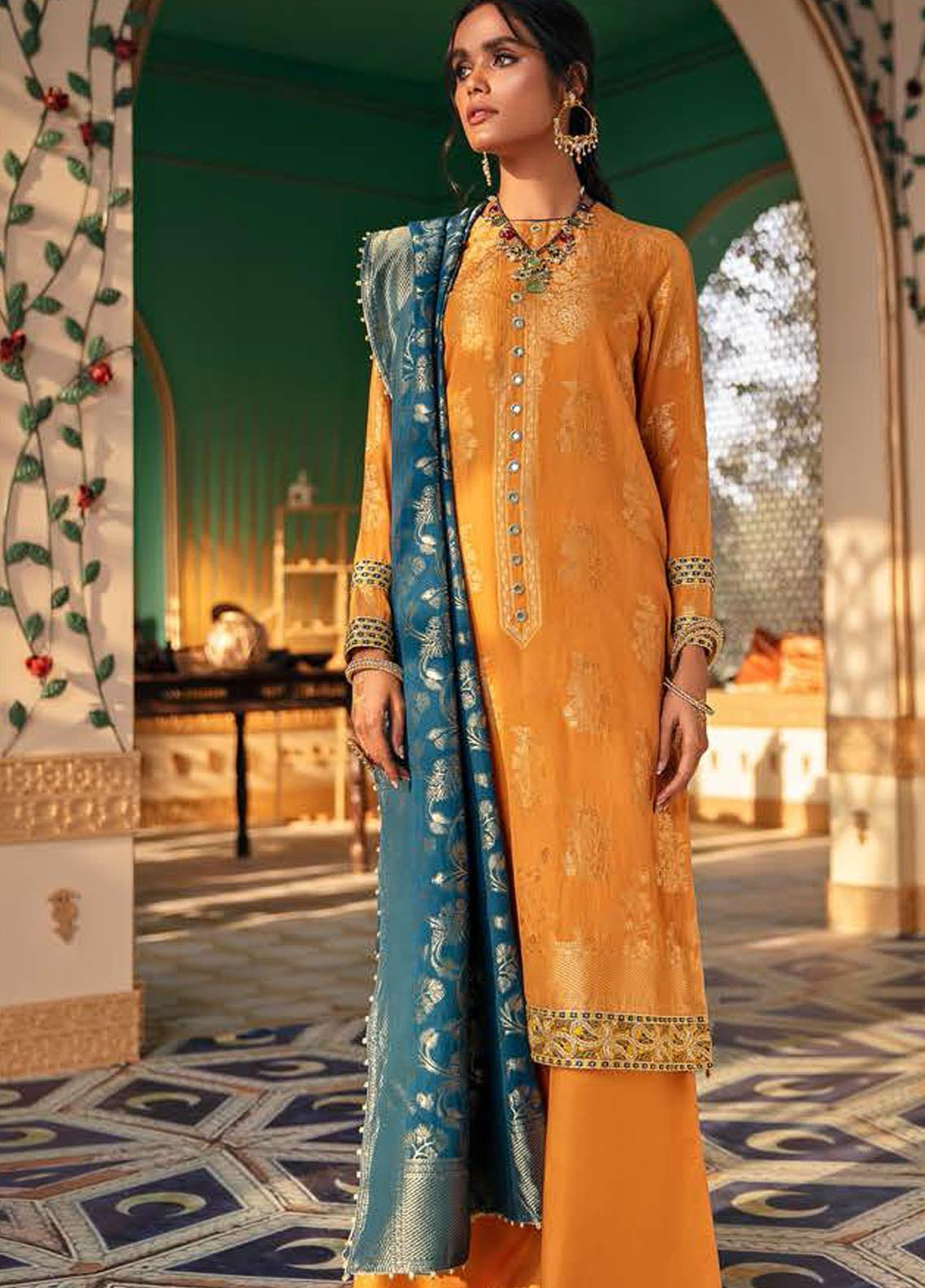 Cross Stitch Embroidered Lawn Suits Unstitched 3 Piece CS21SU 13-SI MURGH - Luxury Collection