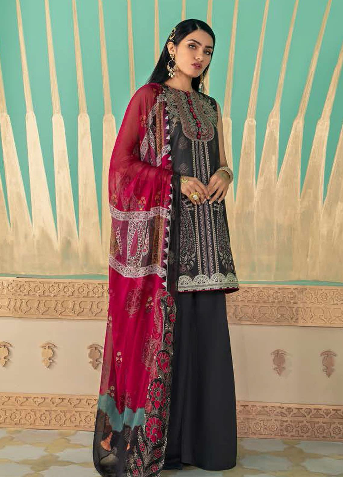 Cross Stitch Embroidered Lawn Suits Unstitched 3 Piece CS21SU 17-BLACK ODYSSEY - Luxury Collection