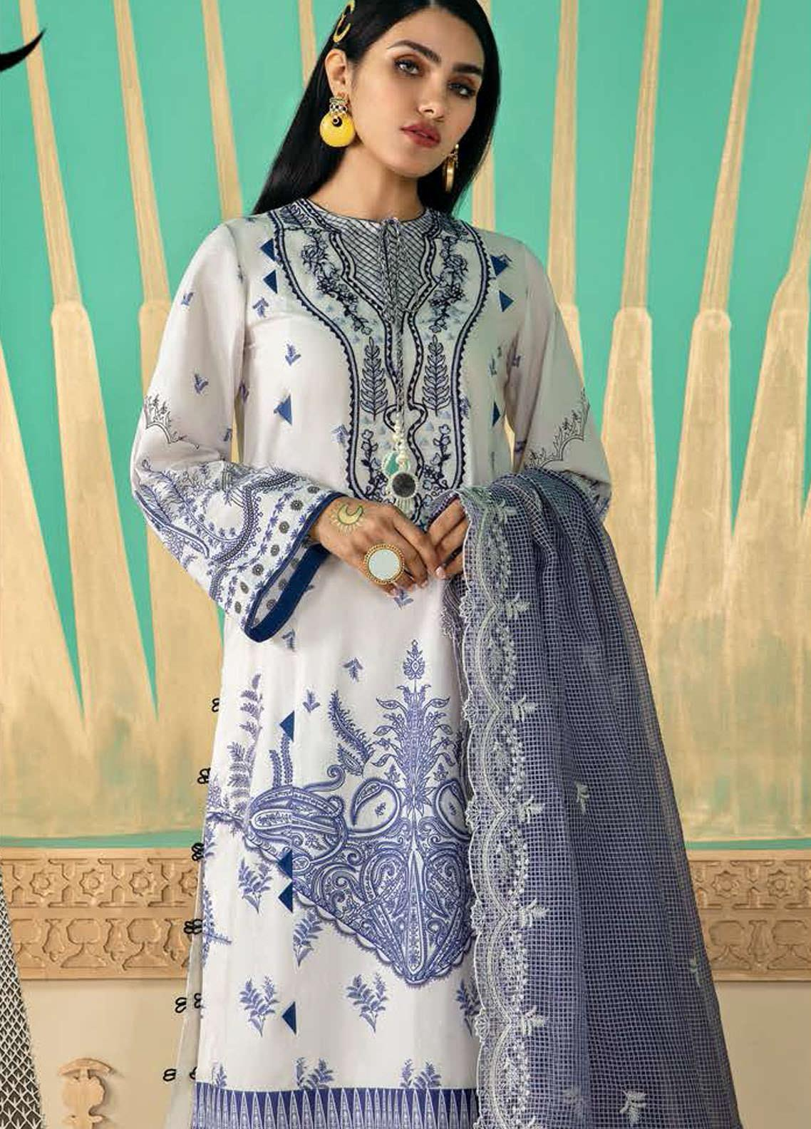 Cross Stitch Embroidered Lawn Suits Unstitched 3 Piece CS21SU 18-DAMASK TALES - Luxury Collection