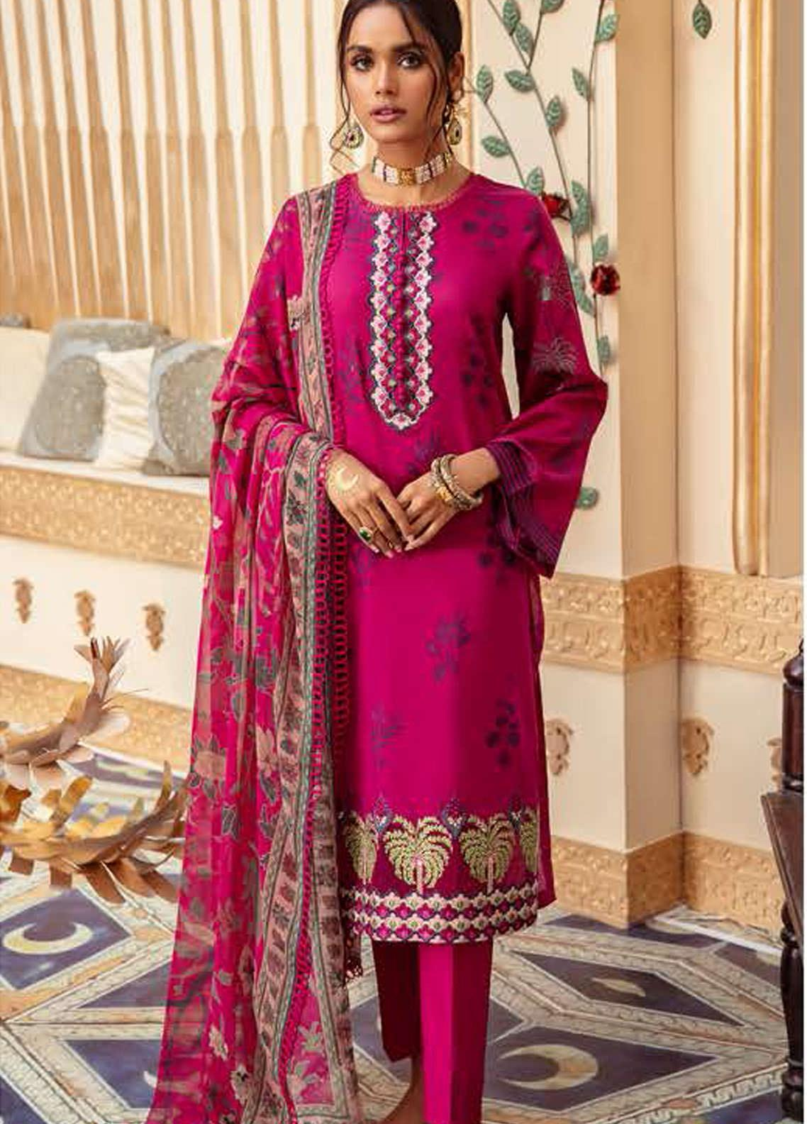 Cross Stitch Embroidered Lawn Suits Unstitched 3 Piece CS21SU 19-FUSCHIA STRUT - Luxury Collection