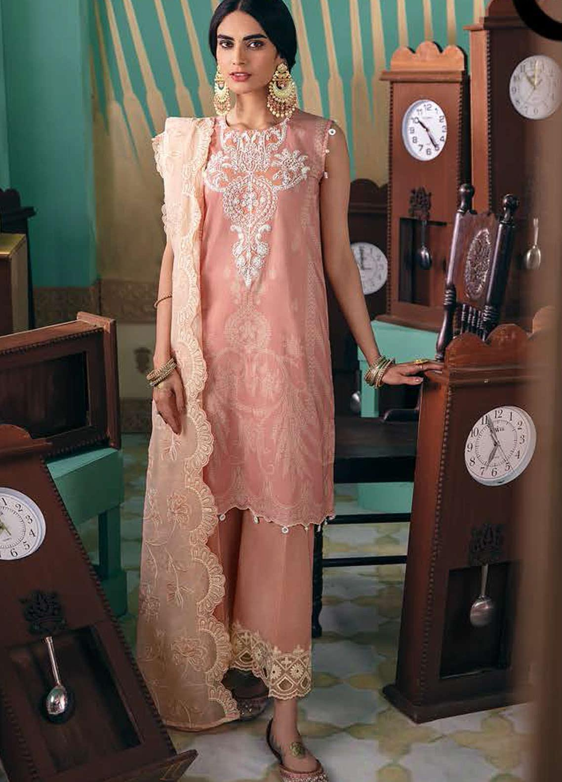 Cross Stitch Embroidered Lawn Suits Unstitched 3 Piece CS21SU 22-PINK MUSE - Luxury Collection
