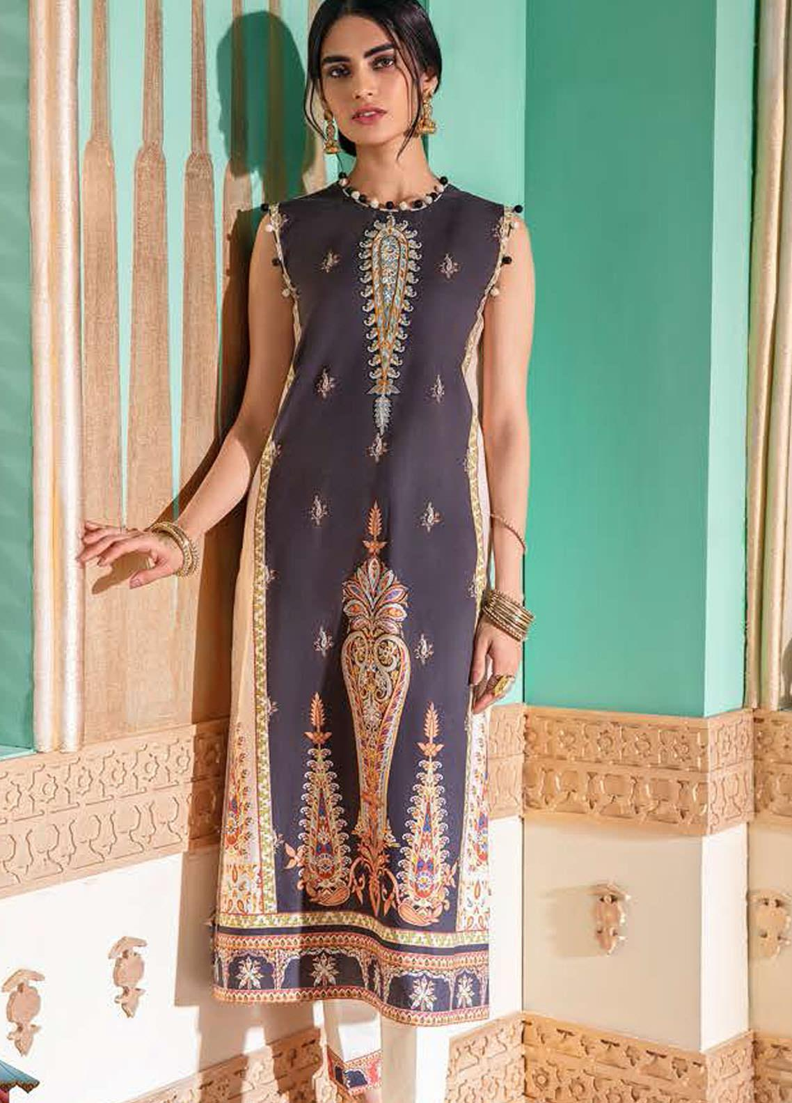 Cross Stitch Embroidered Lawn Suits Unstitched 2 Piece CS21SU 24-BEIGE BREEZE - Luxury Collection