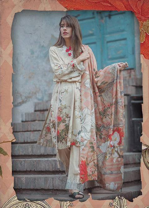 Cross Stitch Embroidered Linen Unstitched 3 Piece Suit CS17WL 03