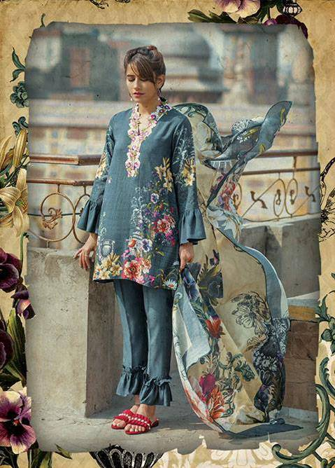 Cross Stitch Embroidered Linen Unstitched 3 Piece Suit CS17WL 07